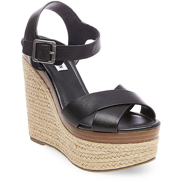 Steve Madden Women's Paso Platform Wedges ($100) ❤ liked on Polyvore featuring shoes, sandals, black leather, platform wedge sandals, wedge shoes, black wedge sandals, platform sandals and high heel sandals