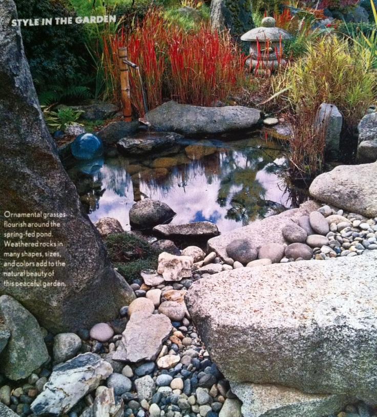 Stone garden pond ornamental grass home exterior for Ornamental pond pumps