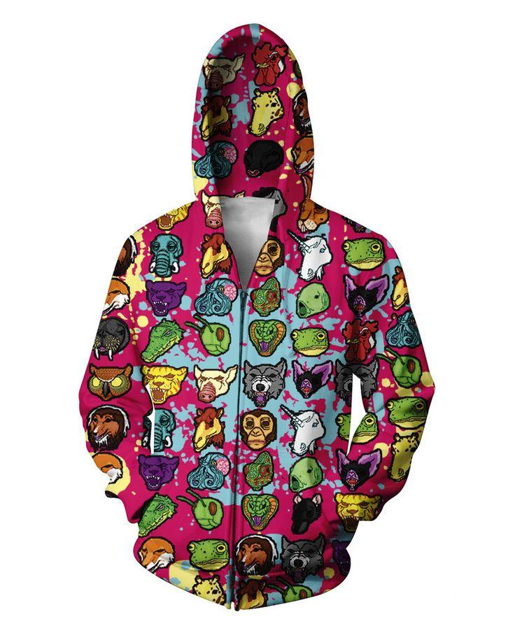 Hotline Miami Zip-Up Hoodie Cartoon Animal Emoji 3D Print Hoodies Sweatshirts Unisex Women Men Tops Jumper Coats Outfits