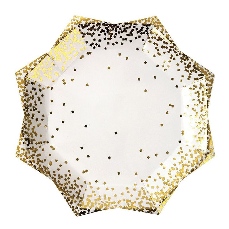 Christmas Party Paper Plates Part - 42: Gold Star Confetti Plates Large