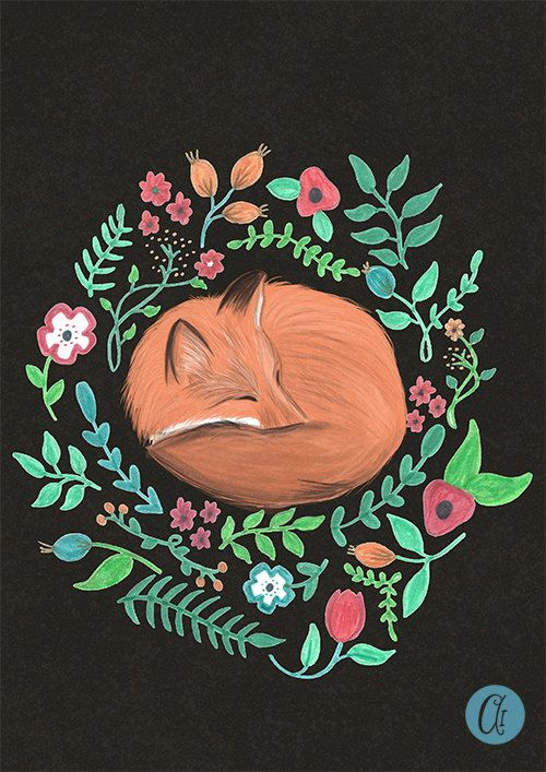 A beautiful sleeping fox print. This was originally drawn and coloured in pen and then finished digitally. ❥ Watermark will not appear on actual