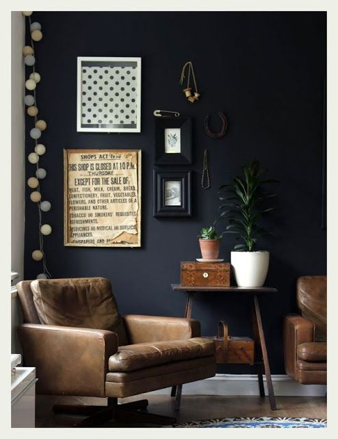 Masculine apartment decor: leather chairs, dark charcoal walls, vintage art. Are you looking for unique, vintage inspired art photo prints to curate your gallery walls? Visit bx3foto.etsy.com and follow us on Instagram @bx3foto