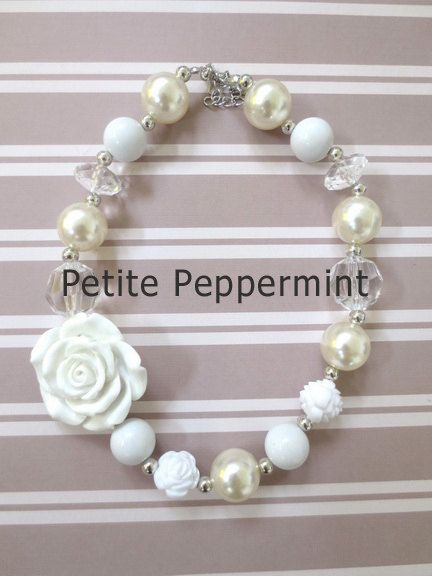 Toddler Chunky Necklace Little Girl Bubblegum by PetitePeppermint, $7.95