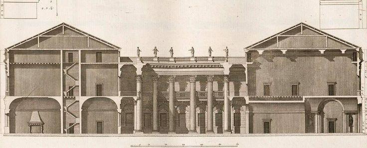 Vicenza, Palazzo Porto, opera splendida (parzialmente realizzata) del Palladio, qui in una sezione, a dir poco meravigliosa, disegnata da Ottavio Bertotti Scamozzi, 1776.  Dottrina dell'Architettura