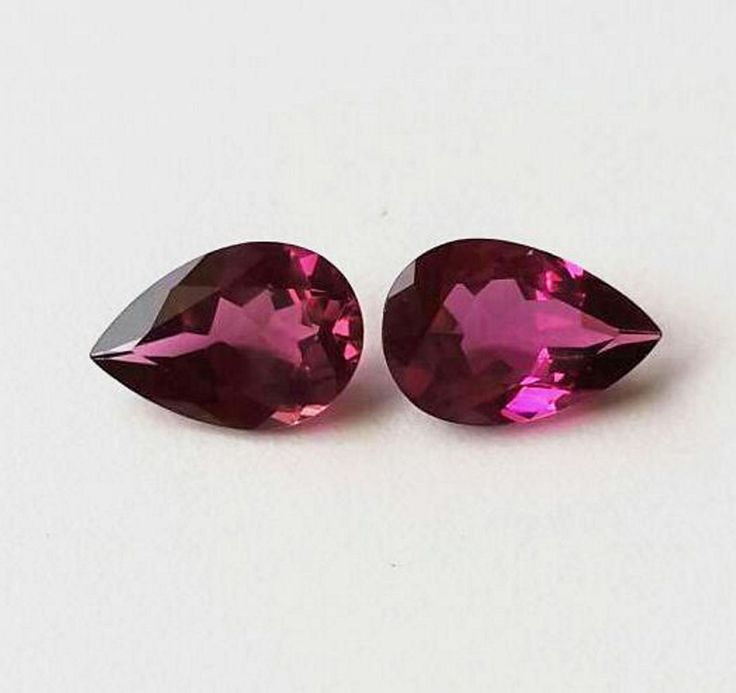 100% Natural Rubelite Pear Pair 5.20 carats blossom color tourmaline semi precious stone by colorvilla on Etsy