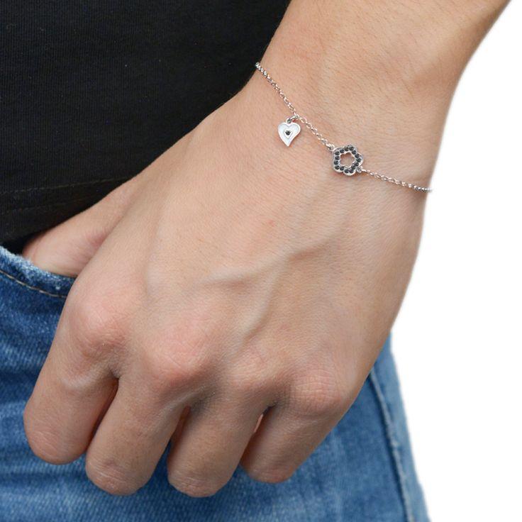 Flower Bracelet Sterling Silver 925,Rose Gold Bracelet,Yellow Gold Bracelet,Tiny Heart,Birthday Gift,Tiny Flower,Mum Jewelry,Bridesmaid Gift by AmorAmorSilver on Etsy