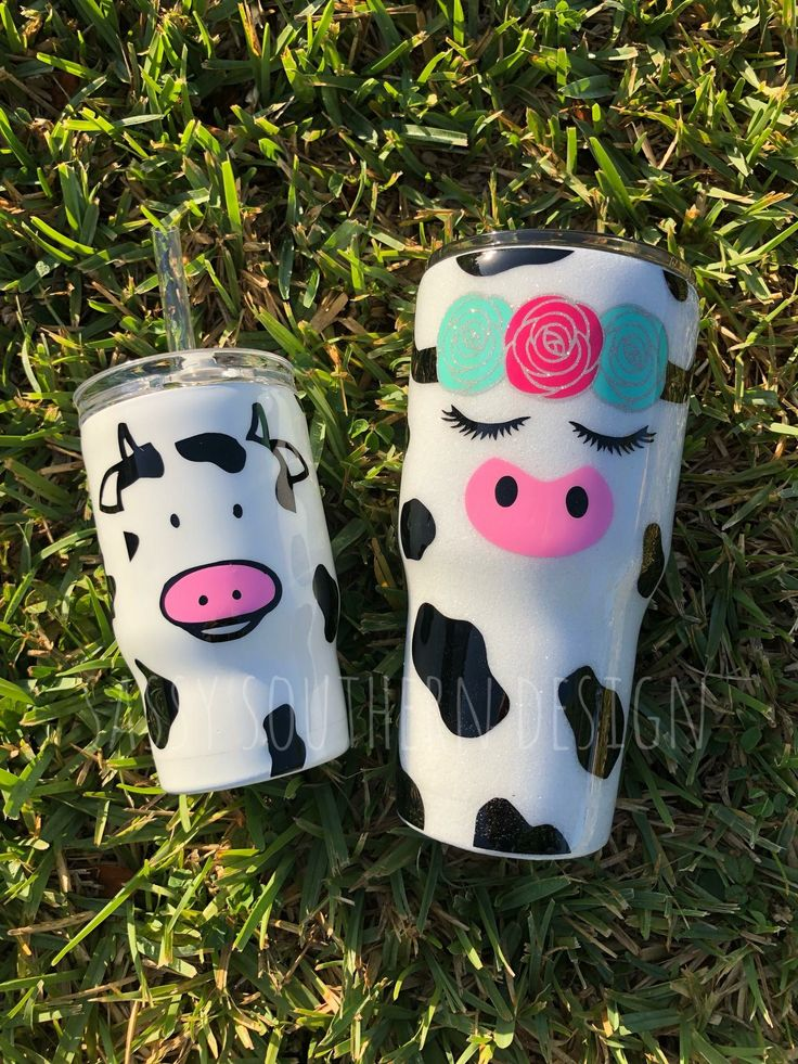 Glitter Cow Tumbler Set Cup Decal Cow