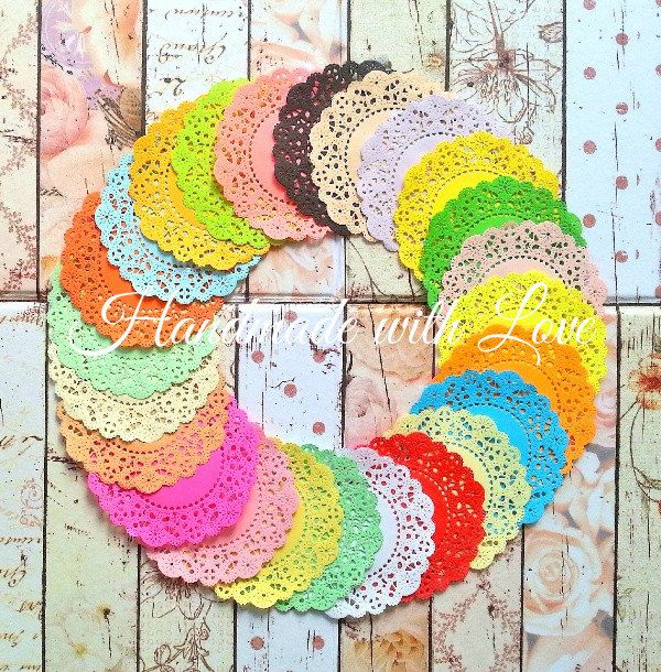 """4 1/8"""" French Pastry Rainbow Paper Doilies, 1 pack of 24 colors. Perfect for any creation. by PaperCraftwithLove on Etsy"""