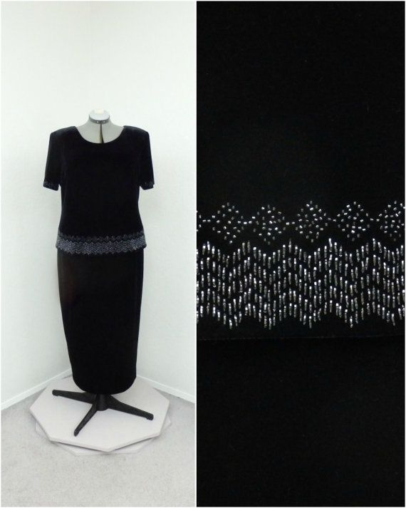 Vintage 90s Plus Size Black Velvet Dress, Beaded Dress, Formal Maxi Dress, Long Formal Dress, Evening Gown, Short Sleeve Dress