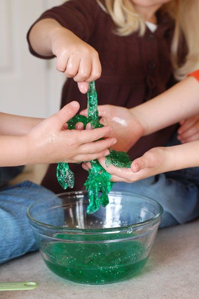 MAGICAL MONSTER SLIME Ingredients: 1 teaspoon Borax powder 1 1/2 c. water, divided 4 oz. (or 1/2 cup) Elmer's glue--we used clear glue, but you can also use the white. food coloring glitter (the secret ingredient that makes it magical!)