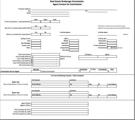 Image result for real estate bill to broker for commission