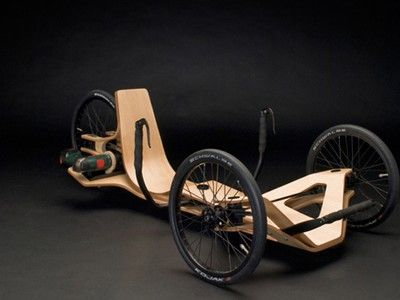 """prototype electric recumbent bike.  driven using a cordless screwdriver. Created by Jirka Wolff, Andreas Patsiaouras and Marcel Heise, a team of German student designers for the annual """"Akkuschrauberrennen"""" competition."""