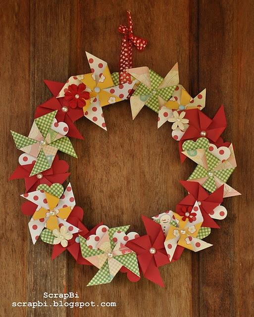 Inspiração para o Natal! Guirlanda de Cataventos.