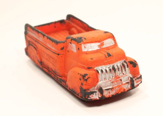 Red Truck, Toy Truck, Fire Truck, Rubber Truck,Garbage Truck, Dump Truck, Vintage Toy by clockworkrummage. Explore more products on http://clockworkrummage.etsy.com