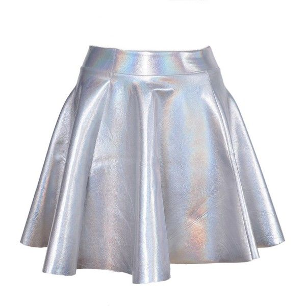Lychee Holographic Hologram Shiny Metallic Silver Flared Pleated... ($13) ❤ liked on Polyvore featuring dresses, shiny dress, polish dress, pleated skater skirt, flare dress and silver metallic dress
