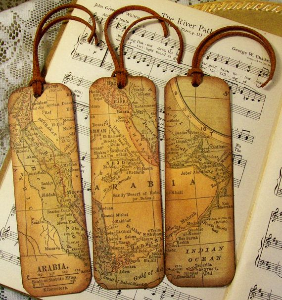 Historical Map Bookmarks Set of 3 Arabia Old Map King Nejd and Hejaz Bookmark Map Lovers Gift Professors Historians Topped with Natural Suede  WOULD