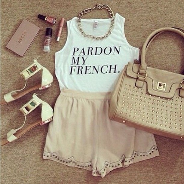 tank top t,shirt shoes french bag shorts tshirt quote on it crop tops sorry  pardon jewels shirt clothes makeup white soft girly sandals metallic chic  make
