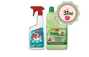 La fiecare bidon de detergent de pardoseli Sano Floor Plus cumpărat la preţul de 21 lei/bidon, vei primi 1 flacon de detergent pentru baie Sano Jet Bathroom la preţul de 10 lei/flacon! Tot pachetul la doar 31 lei! Asta înseamnă o reducere de 35 %!