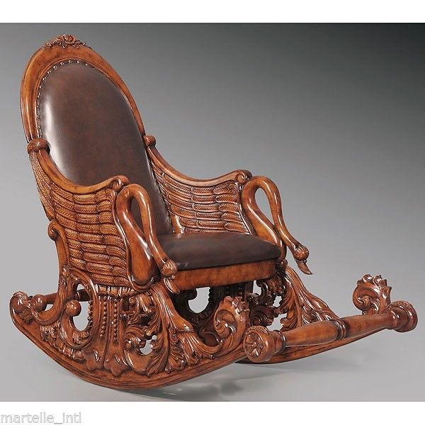 Swan Rocking Chair Sold Hand Carved Mahogany Leather Seat Back