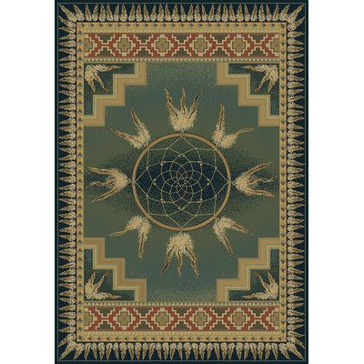 "United Weavers of America Genesis Catcher Blue/Green Southwestern Area Rug Rug Size: Runner 1'11"" x 7'4"""