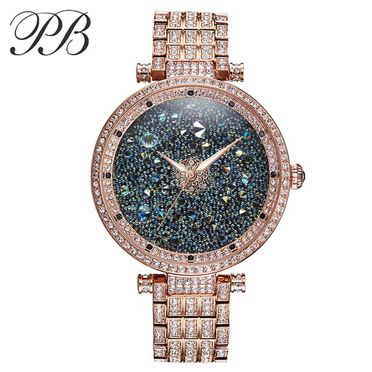 Find More Women's Watches Information about PB Brand Austrian Crystal Luxury Ladies Diamond Dress Watches Quartz Rose Gold Steel Women Waterproof Watch relogio feminino,High Quality dress watches men,China dress and jacket sets Suppliers, Cheap watch unisex from YIKOO Watches Store on Aliexpress.com