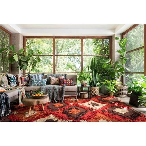 9x9 Bedroom: Raisa Global Boho Red Spice Flat Weave Tuft Rug