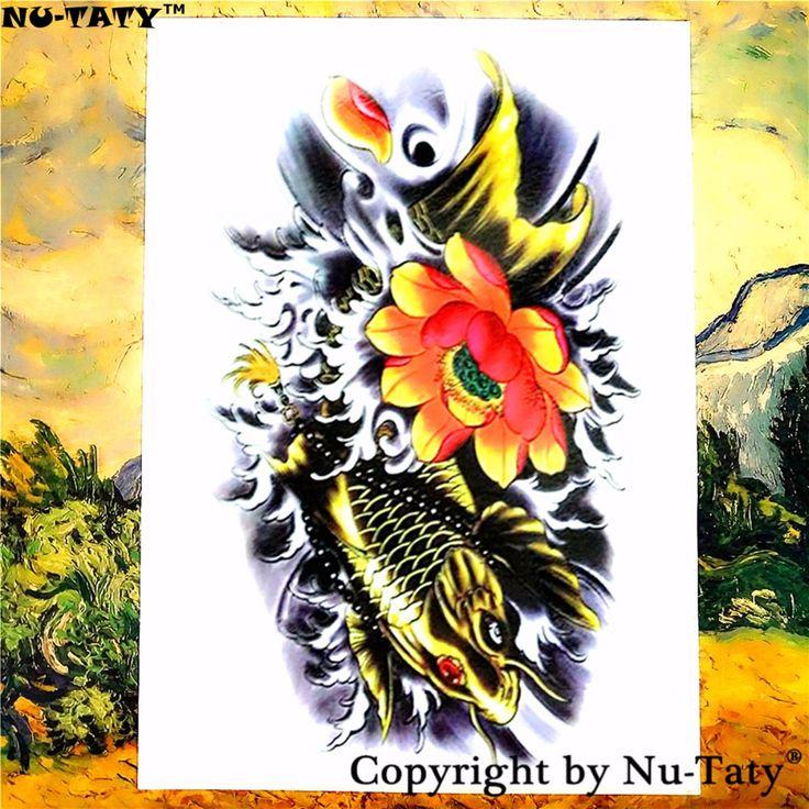Nu-TATY Koi Lotus Temporary Tattoo Body Art Flash Tattoo Stickers 21*15cm Waterproof Tatoo Car Styling Home Decor Wall Sticker