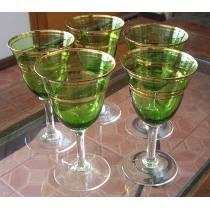 Antiguas Copas Verdes Con Bandas Doradas X Lote De 5