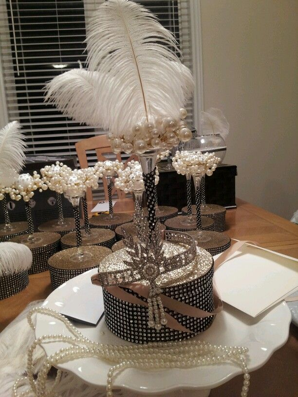 Great Gatsby Centerpieces Gatsby Themed Party Gatsby