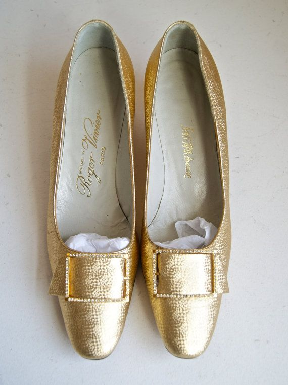 Vintage Roger Vivier Gold Shoes Heels Saks Fifth by xtabayvintage, $125.00