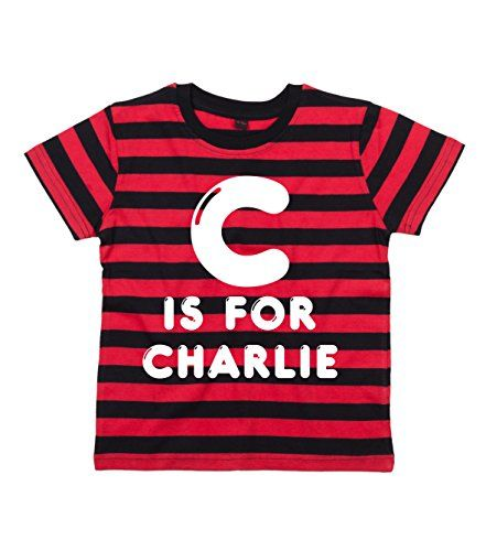 RED & BLACK STRIPED Children's T-Shirt 'PERSONALISED BIG LETTER & NAME' with White Print.