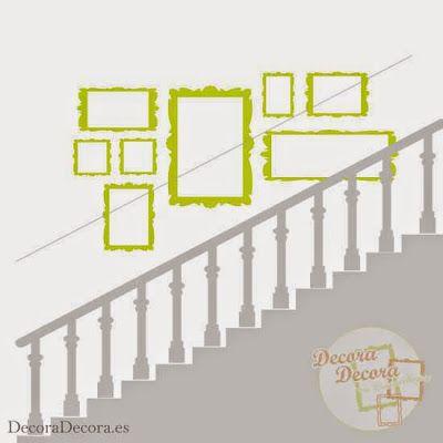 Colgar unos cuadros en una escalera.