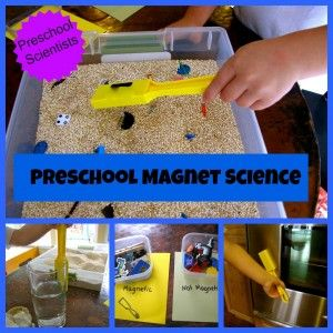 Magnet Science that includes a hands-on sensory experience to explore magnetic/not magnetic.