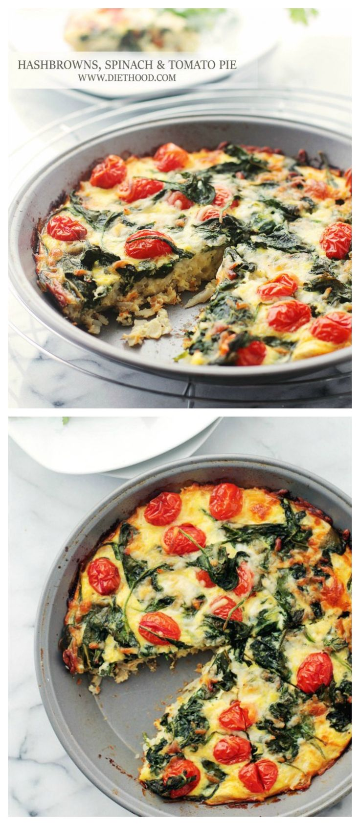 {USA} Hashbrowns, Spinach and Tomato Pie | www.diethood.com | Hashbrowns, Spinach and Tomato Pie is the perfect addition to your Easter Brunch Menu! | #recipe