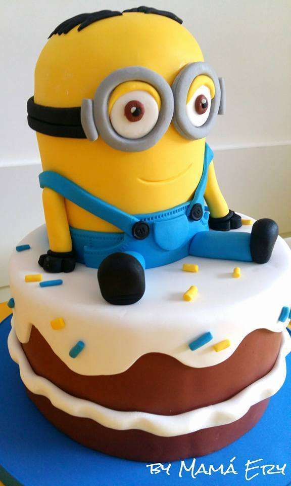 Wow! What a great cake at a Minion birthday party! See more party ideas at CatchMyParty.com!