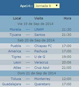 Calendario jornada 9 futbol mexicano