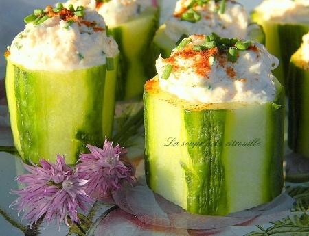 Bouchées de concombre au crabe                                                                                                                                                                                 Plus