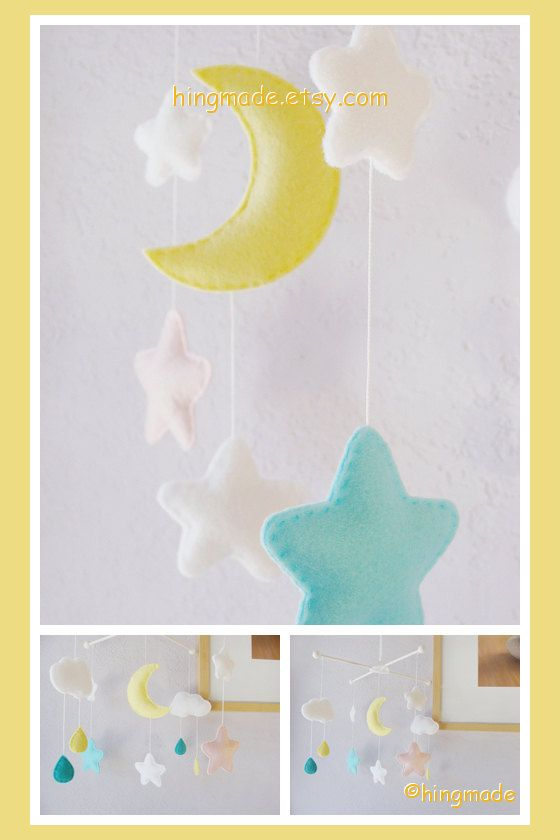 Baby Mobile - Nursery Decor - Moon and Star Mobile - Rain Drop Mobile - Cloud Moon Star Rain theme (Custom Color Available)