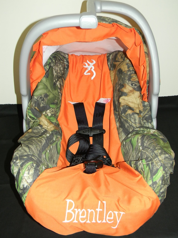Mossy Oak Camo With Orange And Deer Infant Car Seat Cover