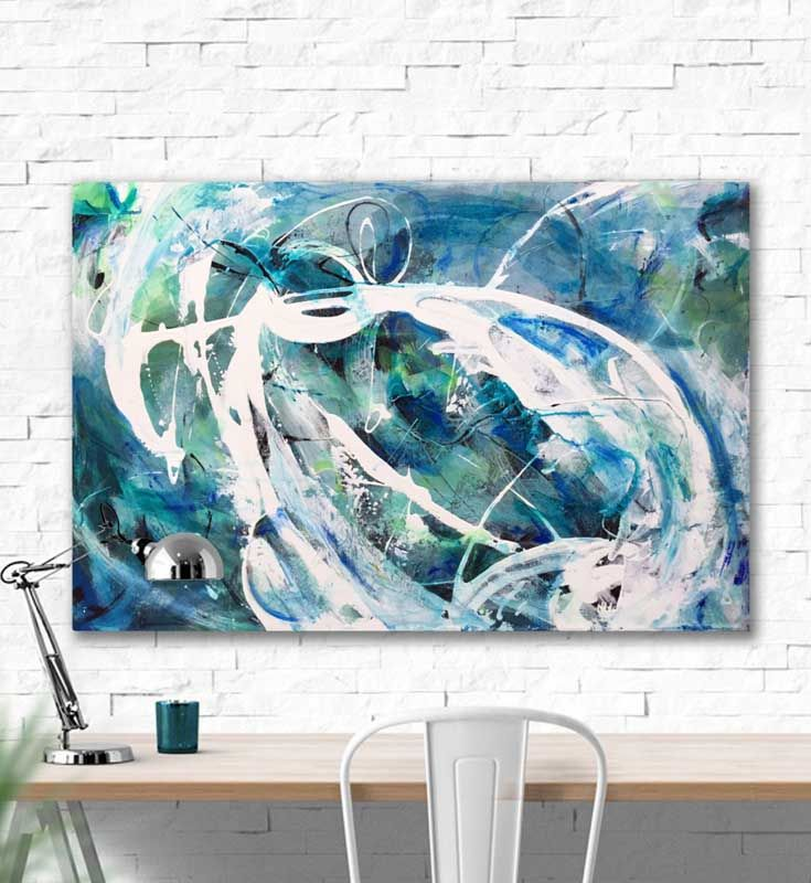 "Longing for the blues and greens of the sea. You will be lost in the fluid movements of ""Distant Shores"". Acrylic painting on canvas, 36x24"" (91.4x61cm)"