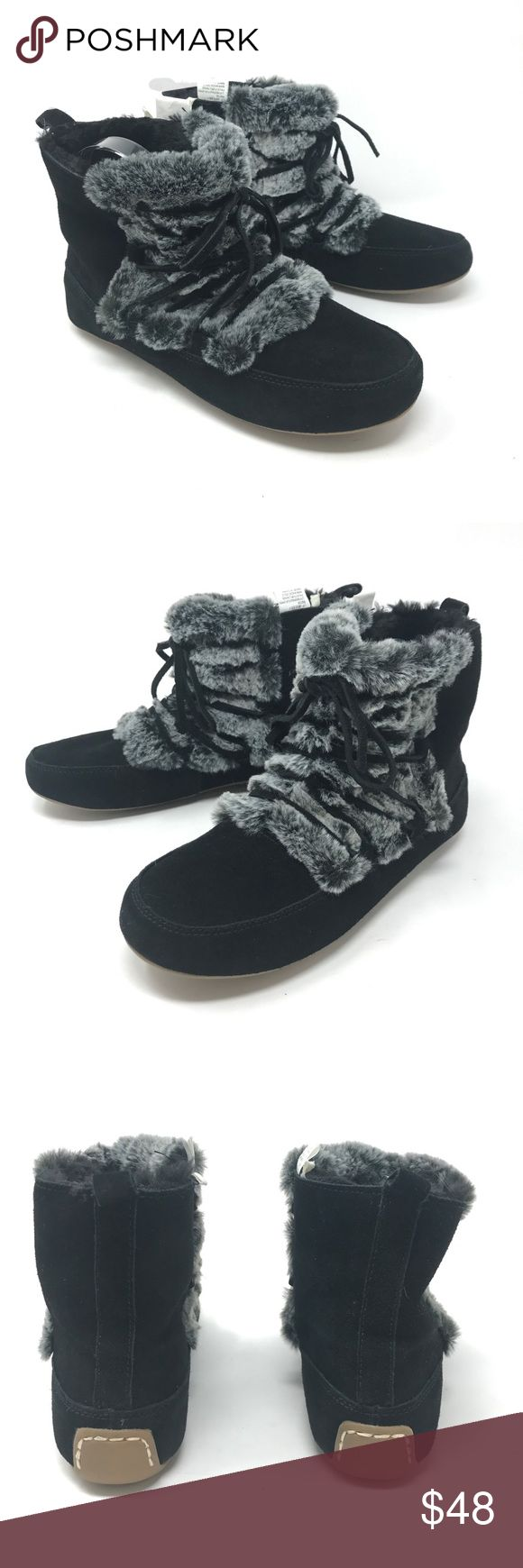 Lucky Brand Aresey Faux Fur Moccasin Boots Sz 8 Lucky Brand Women's Sz 8 Aresey Faux Fur Lined Ankle Black Suede Shoes Boots NEW  Size:8 M Color: black Style Name/Number: Aresey  Brand New in unworn condition, missing original box. Lucky Brand Shoes Moccasins
