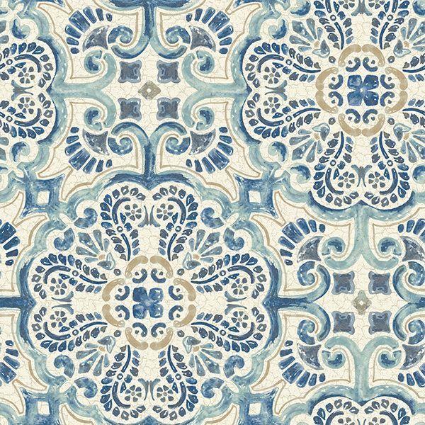 Blue Florentine Tile Peel And Stick Wallpaper Nuwallpaper Peel And Stick Wallpaper Tile Wallpaper