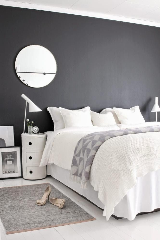 Int rieur scandinave noir et blanc gris linges blancs Decoration interieur chambre adulte
