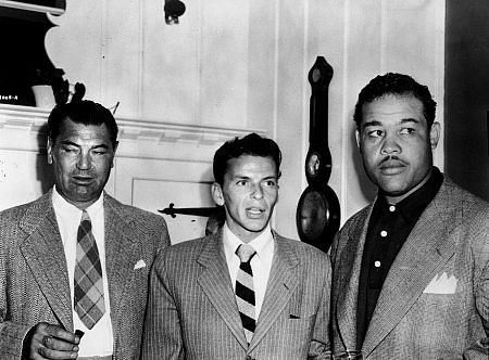 Frank Sinatra with boxing champions Joe Louis and Jack Dempsey c.1947