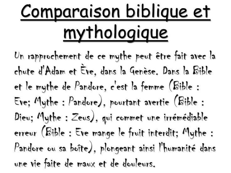 Comparaison récits bibliques et mythologie grecque (Adam et Ève...)