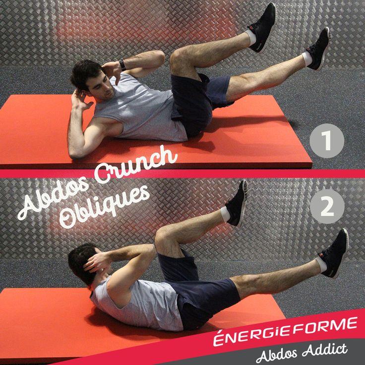 Abdos Crunch Oblique   Objectif : Permet de travailler un peu plus les muscles obliques  > Position de départ  Les mains derrière les oreilles les jambes à 90° allongé sur le dos on alterne les jambes et les épaules opposé pour travailler la partie oblique de la ceinture abdominale  > Fréquence Répéter le mouvement plusieurs fois exemple 4 séries de 20 répétitions