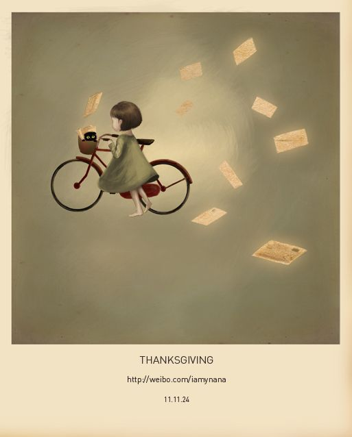 """Y. Nana, """"Thanksgiving"""". The black cat peeking out of the basket. :D"""