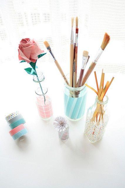 preciosos vasos decorados con washi tape diy