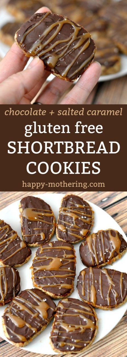 """Baking gluten free cookies used to be a challenge, but not anymore! New gluten free flours like Bob's Red Mill Gluten Free 1-to-1 Baking Flour make it simple. Learn how to make these amazing Gluten Free Shortbread Cookies with Chocolate and Salted Caramel. Then join us in our """"Bakesgiving"""" project! AD #glutenfree #glutenfreecookies #christmascookies #saltedcaramel #chocolate #dessert"""