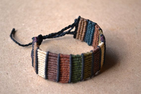 Earth Tone Macrame Bracelet/ Color Block/ Browns/ Macrame Jewelry/ Camo Colors